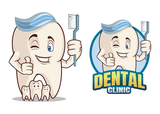 Personnage De Dessin Animé De Clinique Dentaire Vecteur Premium