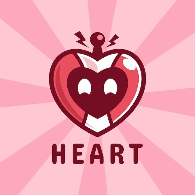 Personnage De Dessin Animé Coeur Robot Love Vecteur Premium