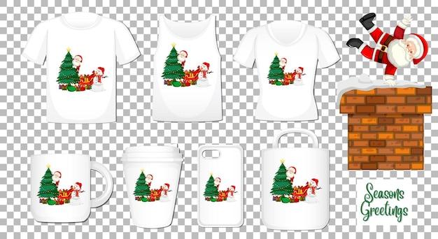 Personnage De Dessin Animé De Danse Du Père Noël Avec Ensemble De Différents Vêtements Et Accessoires Vecteur gratuit