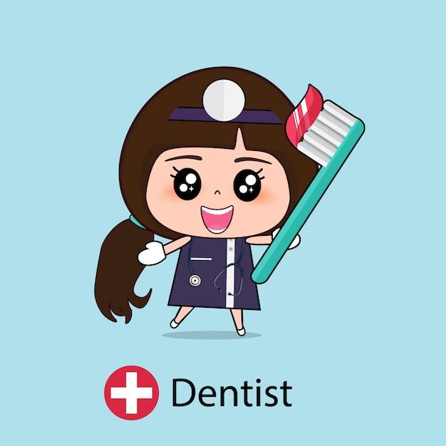 Personnage De Dessin Animé De Dentiste Vecteur Premium