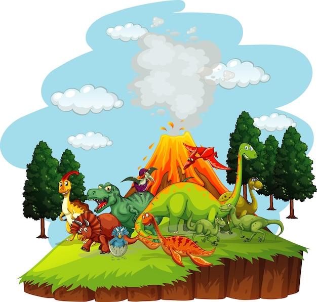 Personnage De Dessin Animé De Dinosaures Dans La Scène De La Nature Vecteur gratuit