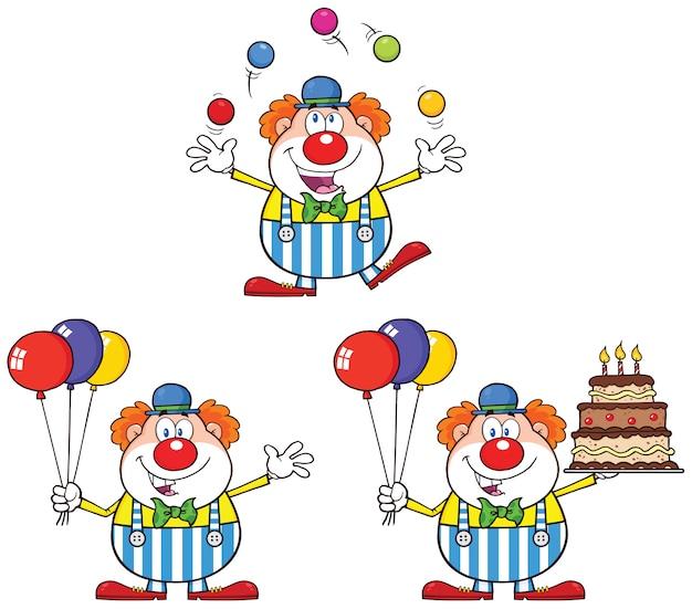 Personnage de dessin animé drôle de clown Vecteur Premium