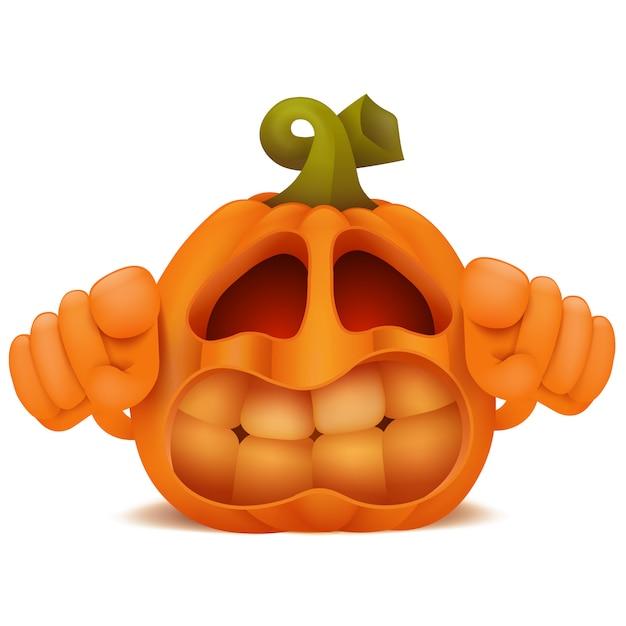 Personnage de dessin animé d'émoticône halloween citrouille jack lantern en colère. Vecteur Premium