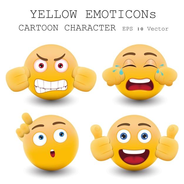 Personnage de dessin animé d'émoticône jaune Vecteur Premium