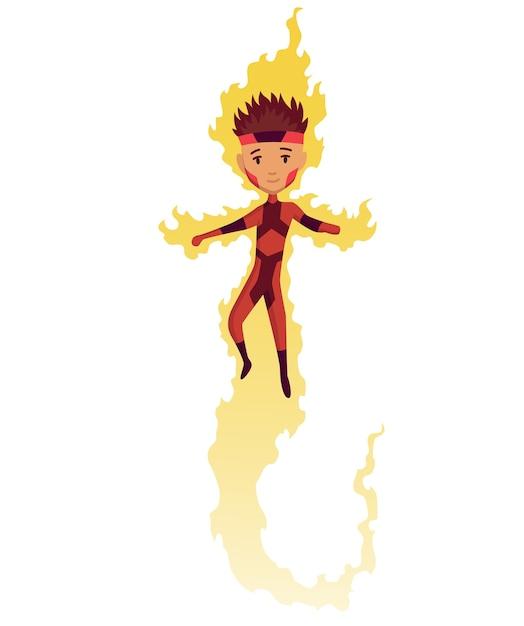Personnage De Dessin Animé Enfant Super-héros. Vecteur Premium
