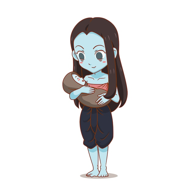 Personnage de dessin animé de fantôme thaïlandais portant un enfant Vecteur Premium