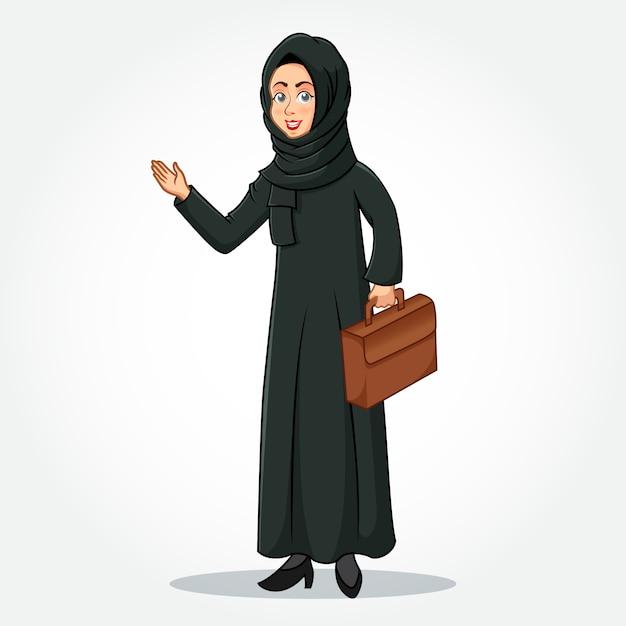 Personnage De Dessin Animé De Femme D'affaires Arabe En Vêtements Traditionnels Tenant Une Mallette Avec Des Mains Accueillantes Vecteur Premium
