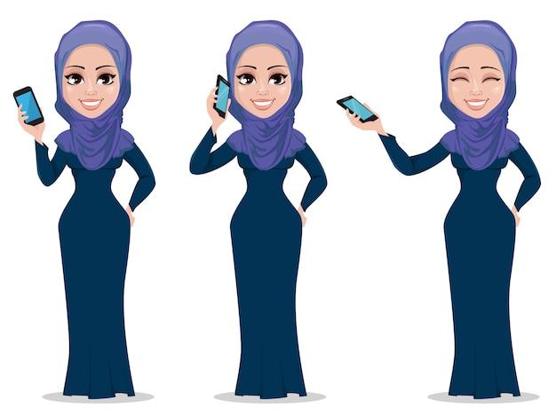 Personnage de dessin animé femme arabe Vecteur Premium