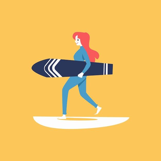 Personnage De Dessin Animé Femme Surfeur Portant Planche De Surf Et Illustration De Vague De Mer Sur Fond Jaune. Ou élément De Logo Pour Les Sports Extrêmes De L'eau. Vecteur Premium