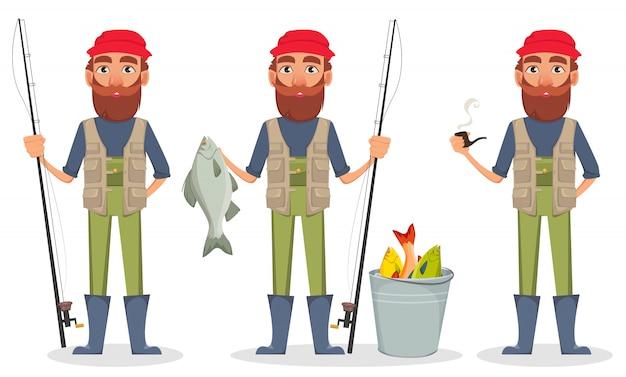 Personnage de dessin animé fisher Vecteur Premium