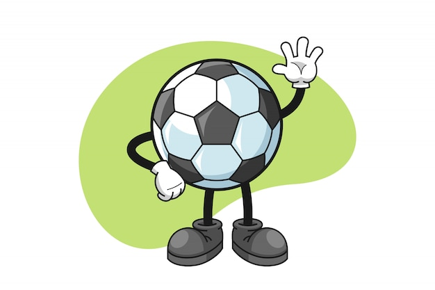 Personnage De Dessin Animé De Football Avec Un Geste De La Main De La Vague Vecteur Premium