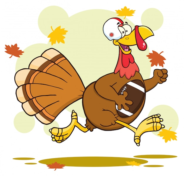 Personnage de dessin animé de football turquie oiseaux en cours d'exécution dans le super bowl de thanksgiving Vecteur Premium