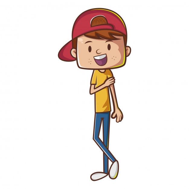 Personnage De Dessin Animé De Garçon Avec Chapeau Rouge