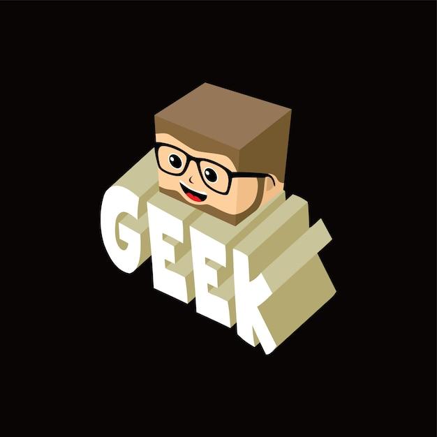 Personnage De Dessin Animé Geek Isométrique Vecteur Premium