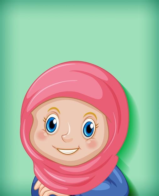 Personnage De Dessin Animé Heureux Fille Musulmane Vecteur gratuit
