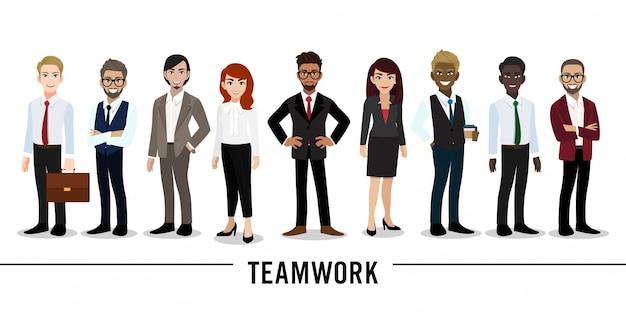 Personnage de dessin animé homme d'affaires et femme d'affaires Vecteur Premium
