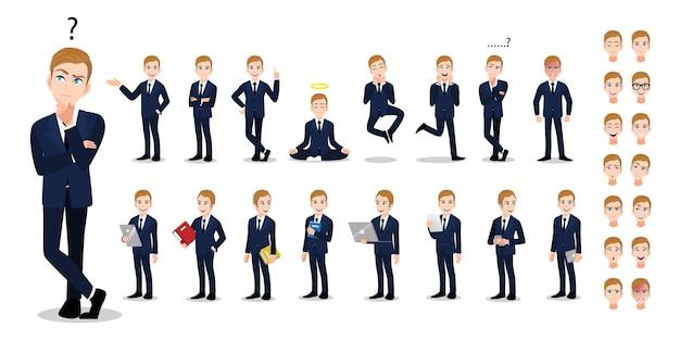 Personnage de dessin animé homme d'affaires. homme d'affaires beau en costume intelligent de style bureau. Vecteur Premium