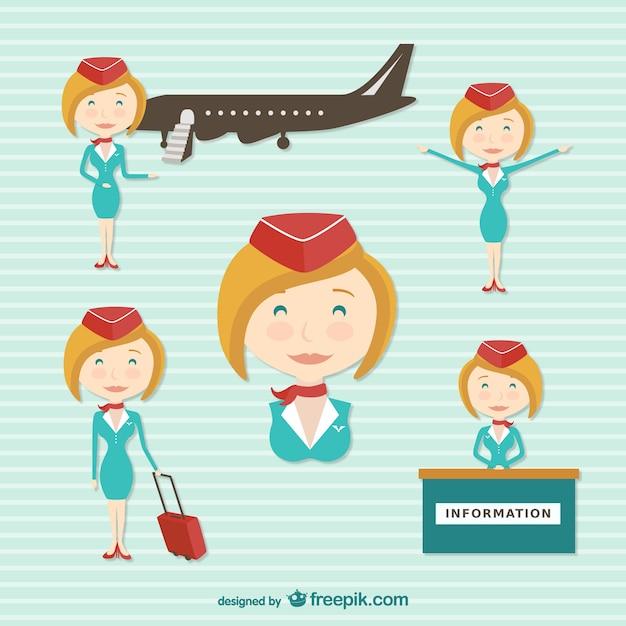 Personnage de dessin animé de hôtesse de l'air Vecteur gratuit