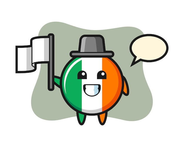 Personnage De Dessin Animé De L'insigne Du Drapeau Irlandais Tenant Un Drapeau Vecteur Premium