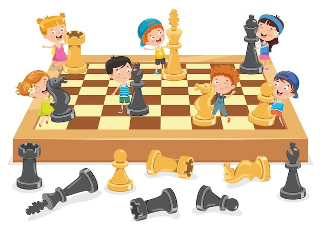 Personnage De Dessin Animé Jouant Au Jeu D'échecs | Vecteur Premium