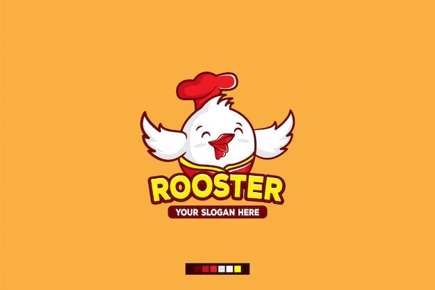 Personnage De Dessin Animé De Logo Coq Vecteur Premium