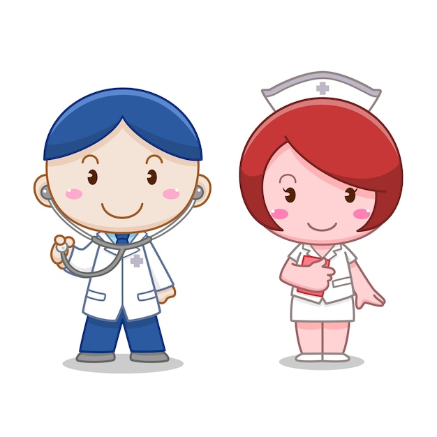 Personnage de dessin animé d'un médecin et d'une infirmière. Vecteur Premium