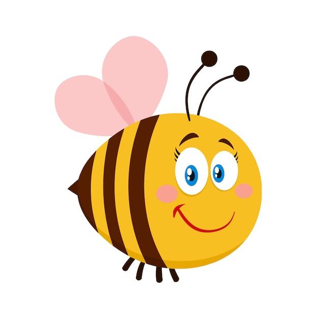 Personnage de dessin animé mignon abeille féminine. illustration vectorielle plat isolé Vecteur Premium