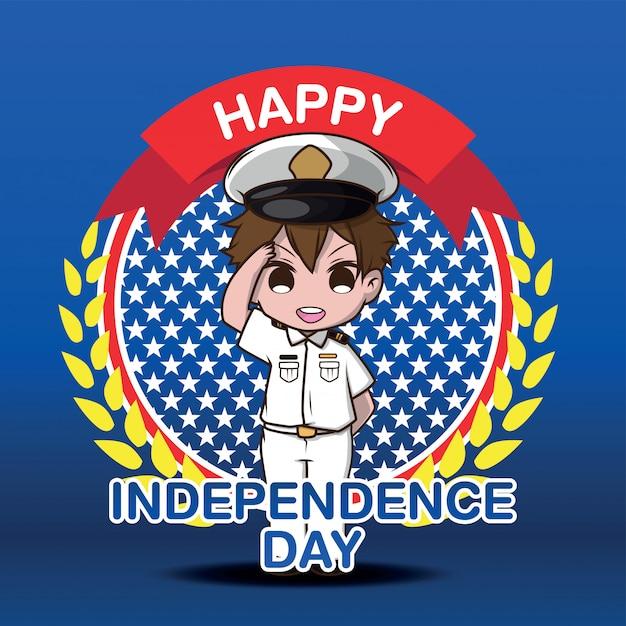 Personnage de dessin animé mignon de l'armée, joyeux jour indépendant. Vecteur Premium