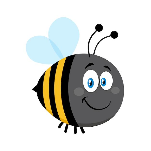 Personnage de dessin animé mignon bumble bee souriant. illustration vectorielle plat isolé Vecteur Premium