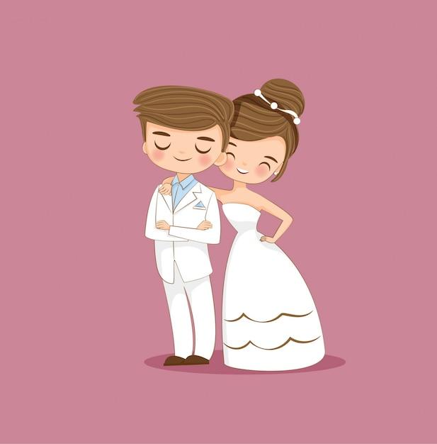 Personnage de dessin animé mignon couple de mariés Vecteur Premium