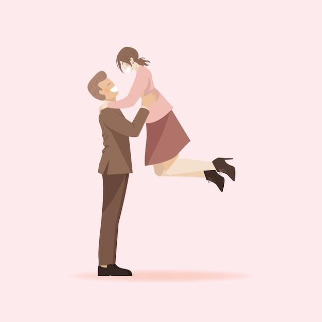 Personnage De Dessin Anime Mignon Couple Romantique Homme Soulevant Une Femme Petite Amie Sauter Sur Le Concept De Petit Ami Vecteur Premium