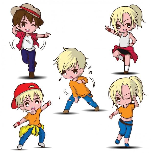 Personnage de dessin animé mignon danseuse, concept de travail. Vecteur Premium