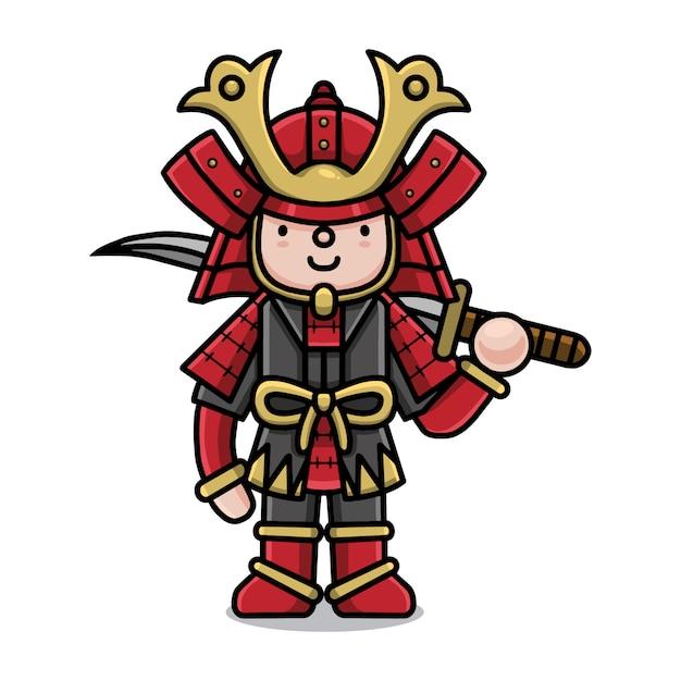 Personnage De Dessin Anime Mignon Guerrier Samourai Vecteur Premium