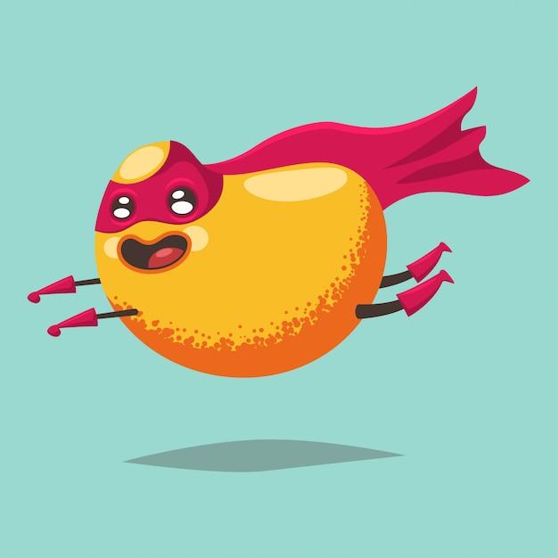 Personnage de dessin animé mignon de mangue d'un fruit exotique dans un costume de super-héros Vecteur Premium