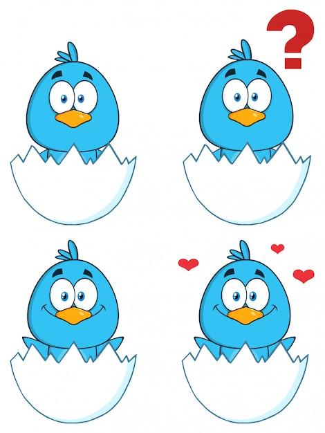 Personnage de dessin animé mignon oiseau bleu Vecteur Premium