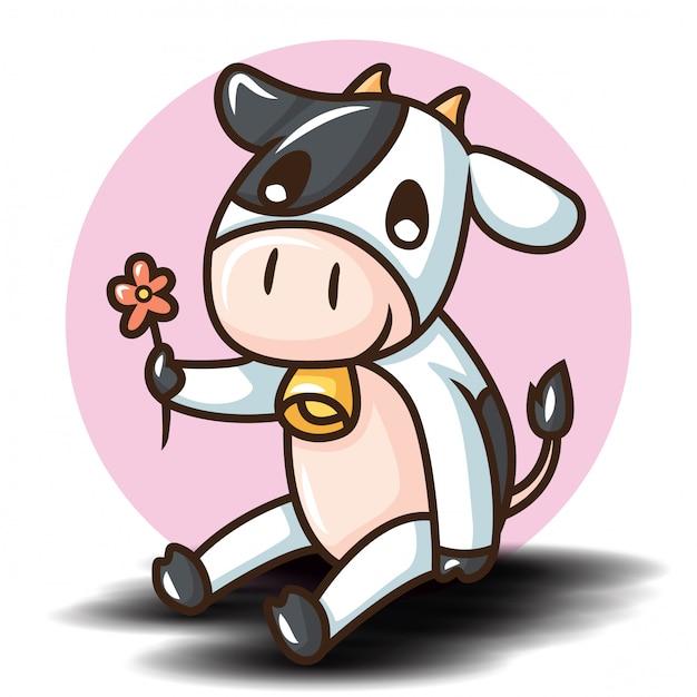 Personnage De Dessin Animé Mignon De Vache. Concept De Dessin Animé Animal. Vecteur Premium