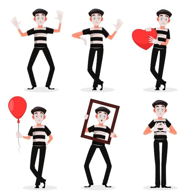 Personnage de dessin animé mime effectuant un ensemble pantomime Vecteur Premium