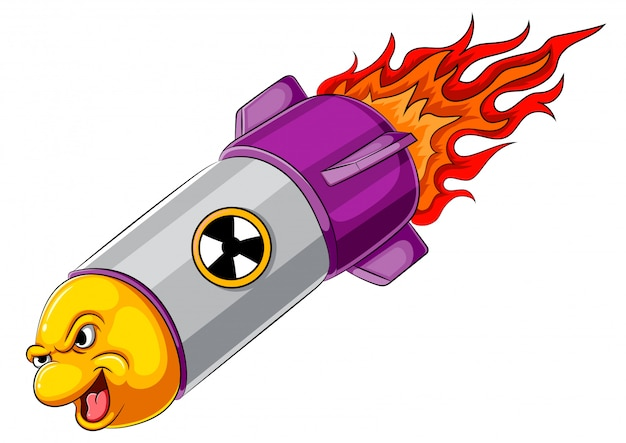 Personnage de dessin animé de missile en colère Vecteur Premium