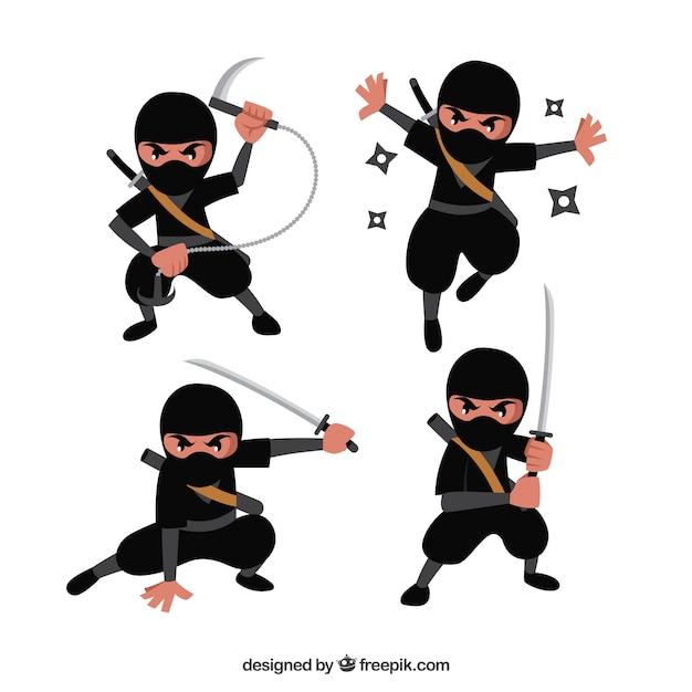 Personnage de dessin anim ninja dans diff rentes poses t l charger des vecteurs gratuitement - Dessin anime ninja ...