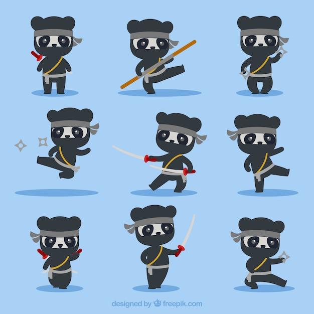 Personnage de dessin animé ninja dans différentes poses Vecteur gratuit