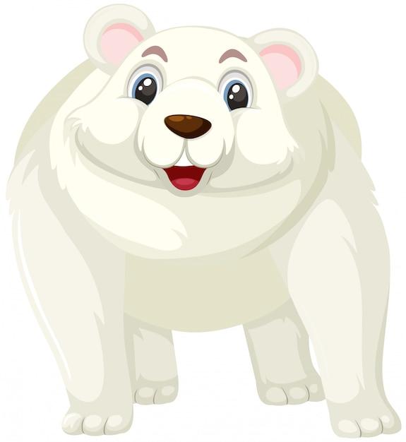 Personnage de dessin animé ours polaire Vecteur Premium