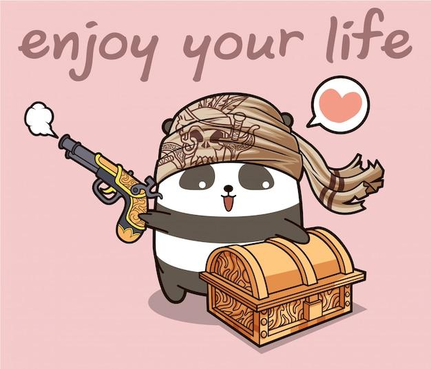 Personnage De Dessin Animé De Panda Pirate Kawaii Avec Une