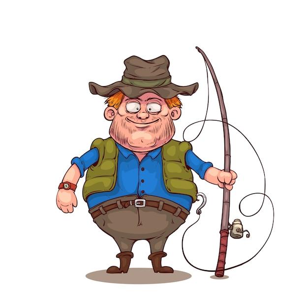 Personnage de dessin animé de pêcheur Vecteur Premium