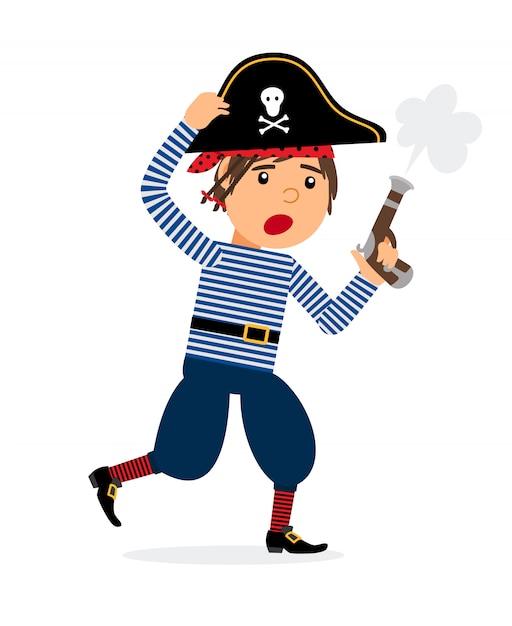 Personnage de dessin animé de pirate avec pistolet en cours d'exécution. icône de vecteur sur fond blanc Vecteur Premium