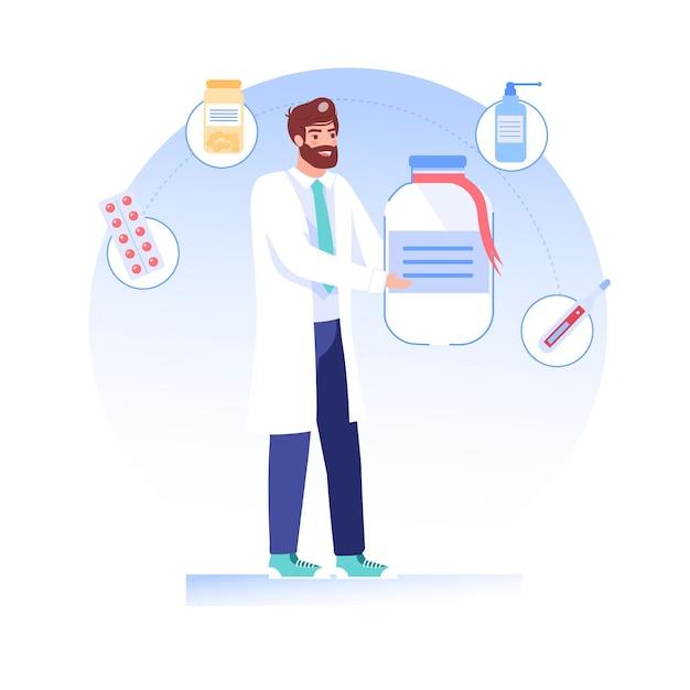 Le Personnage De Dessin Animé Plat Médecin Propose, Présente Des Médicaments Vecteur Premium