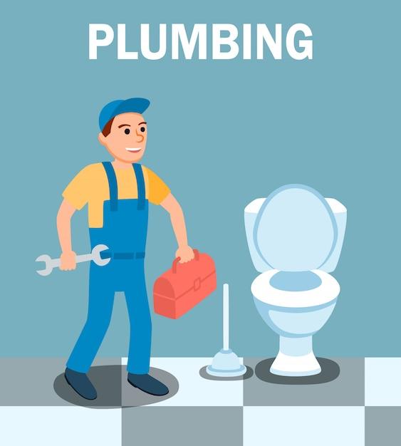 Personnage de dessin animé de plombier avec une clé Vecteur Premium