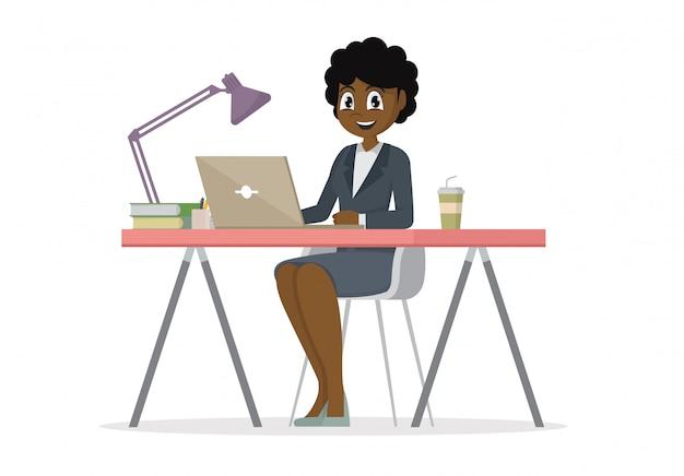 Personnage de dessin animé poses, femme d'affaires africaine au bureau travaille sur l'ordinateur portable. Vecteur Premium