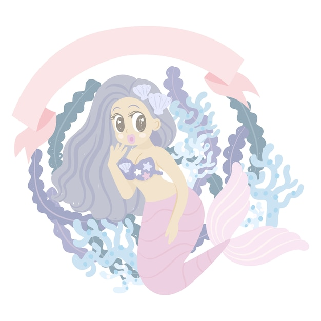 Personnage de dessin animé de sirène avec corail Vecteur Premium