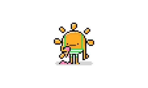Personnage De Dessin Animé Soleil Pixel Art Avec Des Troncs