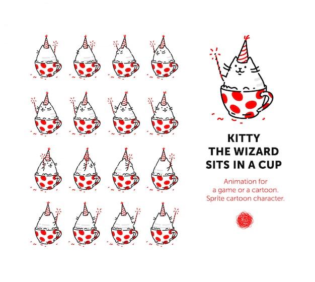 Personnage de dessin animé sprite du chat. ensemble de différentes poses du personnage dans le vecteur. Vecteur Premium